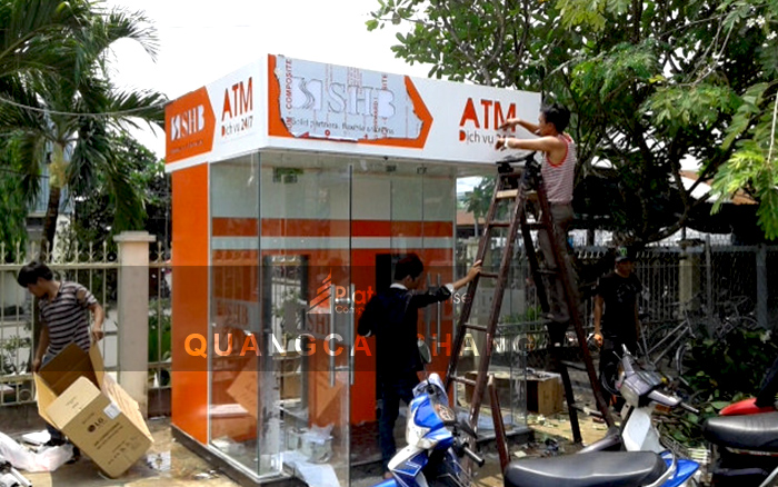 Ốp alu trụ ATM ngân hàng SHB